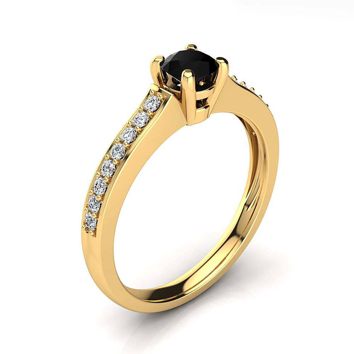 Affordable Half Carat White & Black Diamond Engagement Ring in 14k Gold