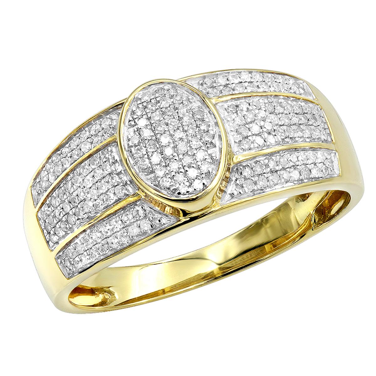 Affordable Mens Diamond Ring 10k Gold Pave Diamonds Band 0.33ct