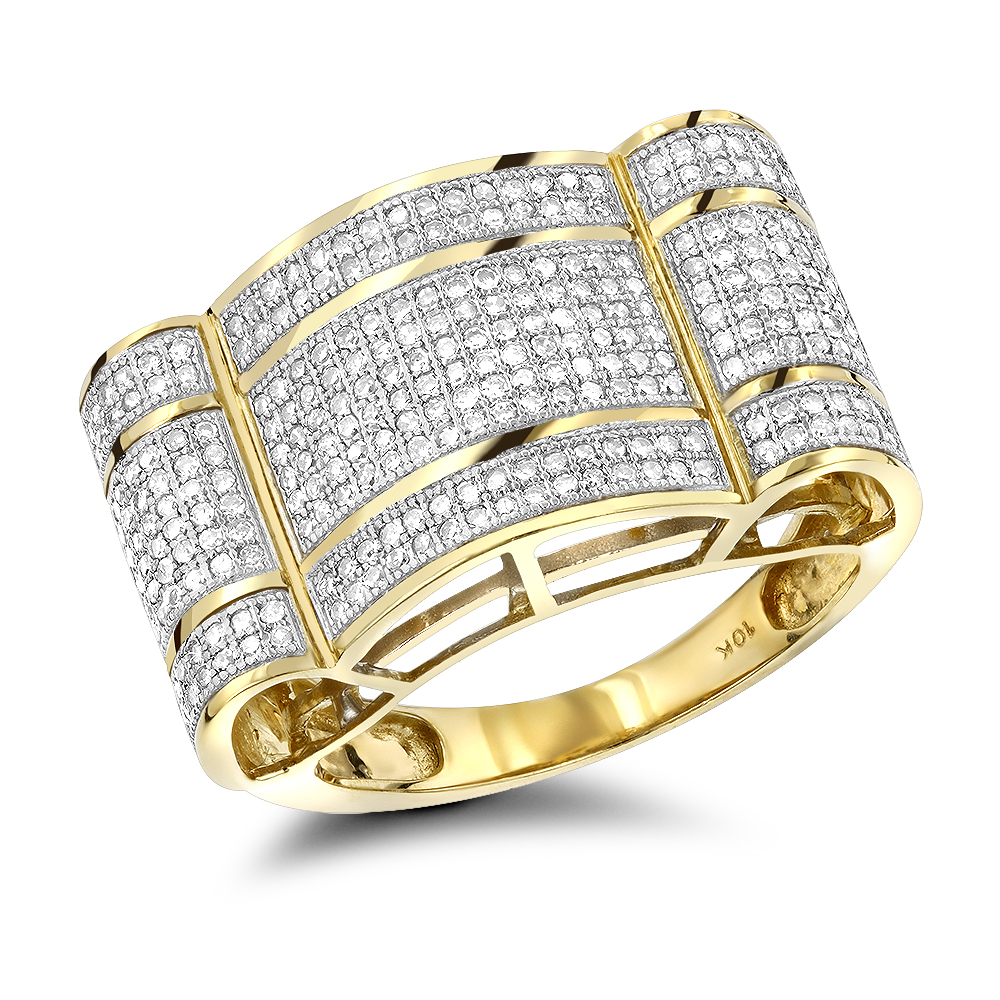 Affordable Mens Rings 10K Gold Diamond Ring 1ct