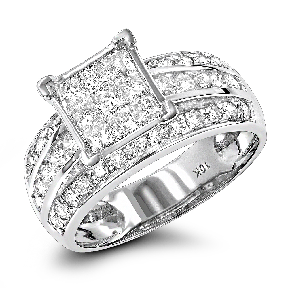 Affordable Round And Princess Cut Diamond Engagement Rings 10k Gold 1.5ct