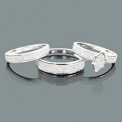 Affordable Trio Diamond Ring Set 0.73ct 10K