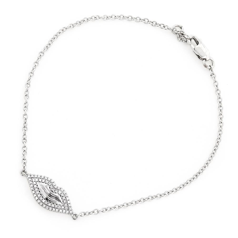 Affordable Unique Ladies Bracelets 10K Gold Diamond Lips Bracelet 0.13ct