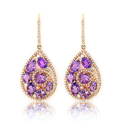 Amethyst Teardrop Diamond Earrings 14K Gold