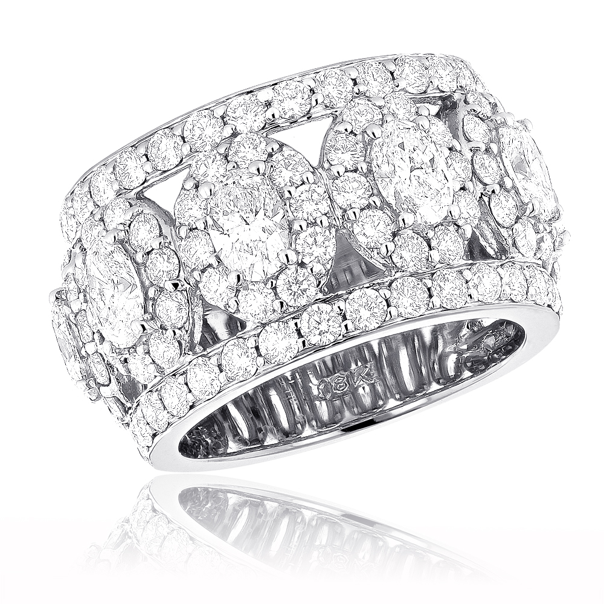 Anniversary Rings Unique 18K Gold Custom Made Wide Diamond Wedding