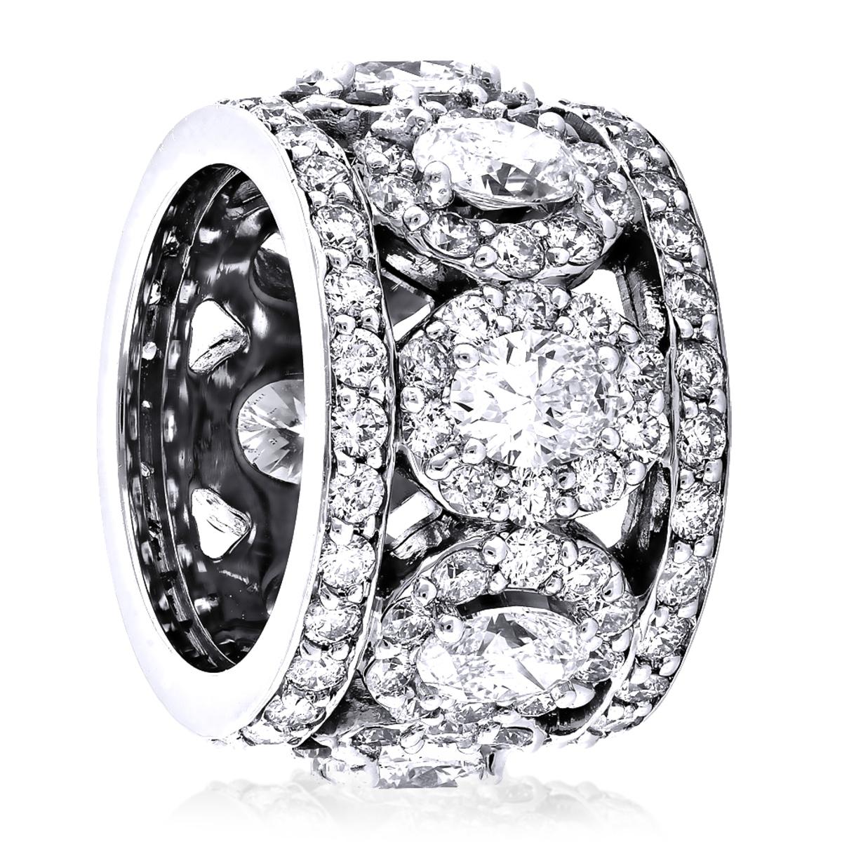 Anniversary Rings: Unique 18K Gold Designer Wide Diamond Eternity Band 9ct