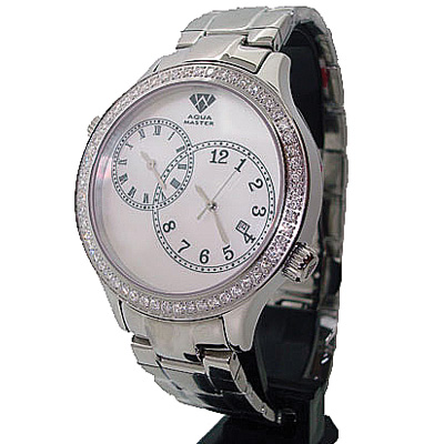 Aqua Master Diamond Watch 2 Time Zone Watch 2.45ct