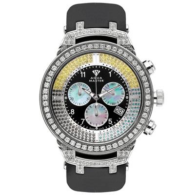 Aqua Master Diamond Watch Black Yellow Diamonds 4.25