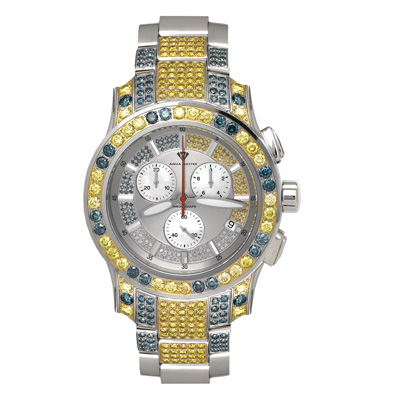 Aqua Master Watches Blue Yellow Diamond Watch 13ct