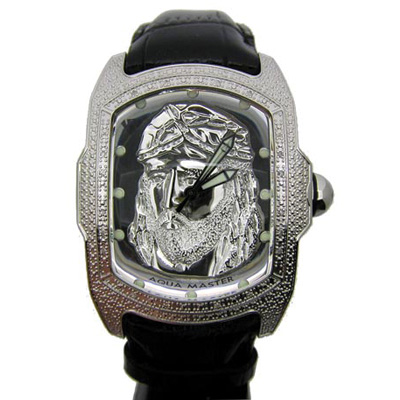 Aqua Master Watches Jesus Face Mens Diamond Watch