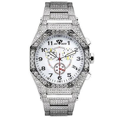Aqua Master Watches Mens Diamond Bracelet Watch 17.65