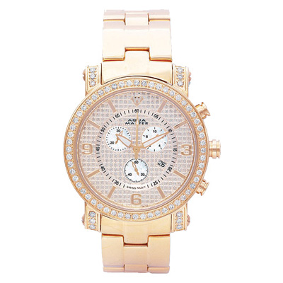 Aqua Master Watches Mens Diamond Watch 2.60ct Yellow