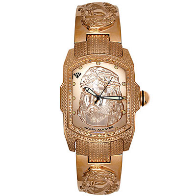 Aqua Master Watches Mens Jesus Religious Diamond Watch