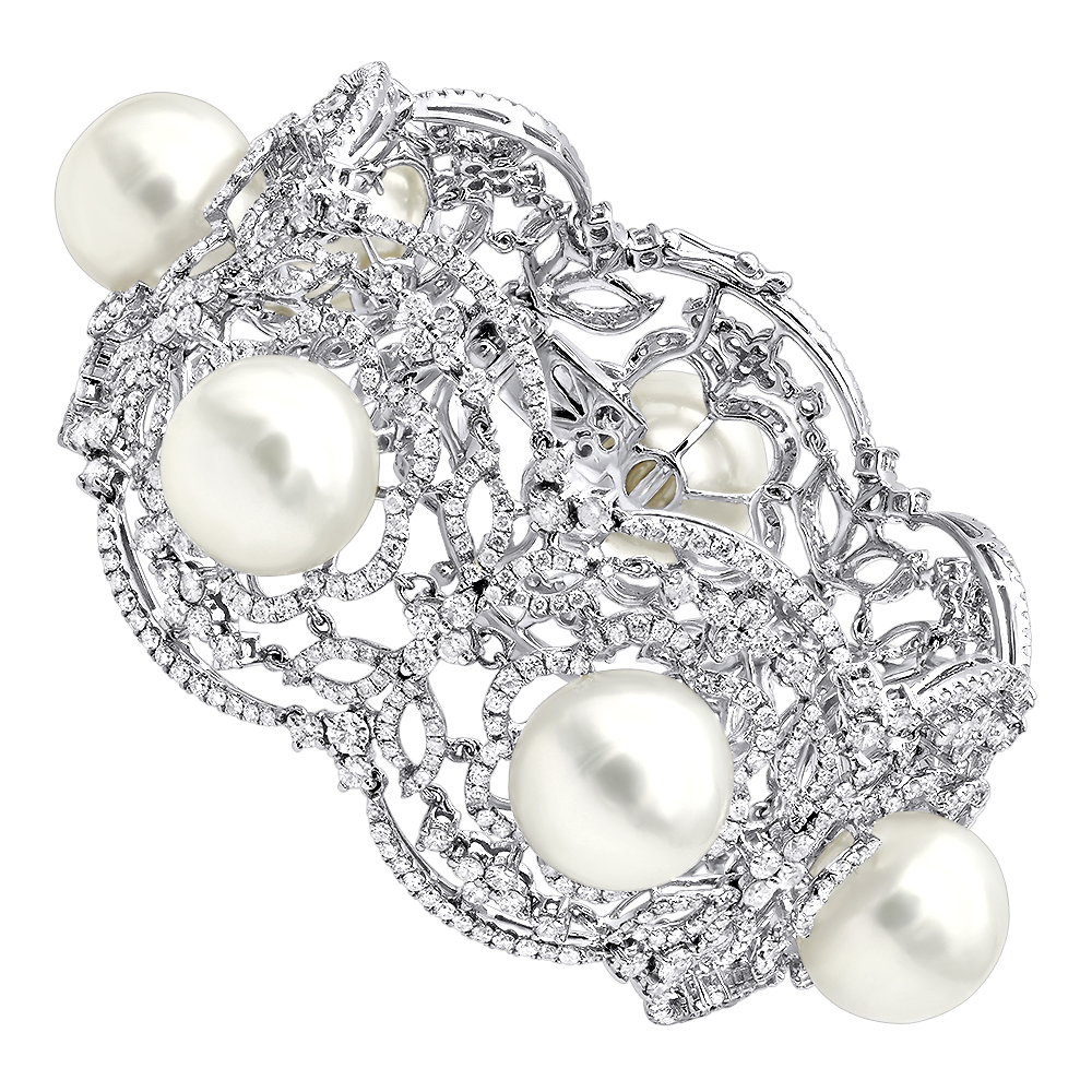 Art Deco White South Sea Pearl and Diamond Bracelet for Women 18k Gold