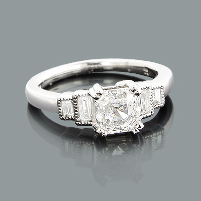 Asscher Cut Diamond Engagement Ring 1.75ct Platinum