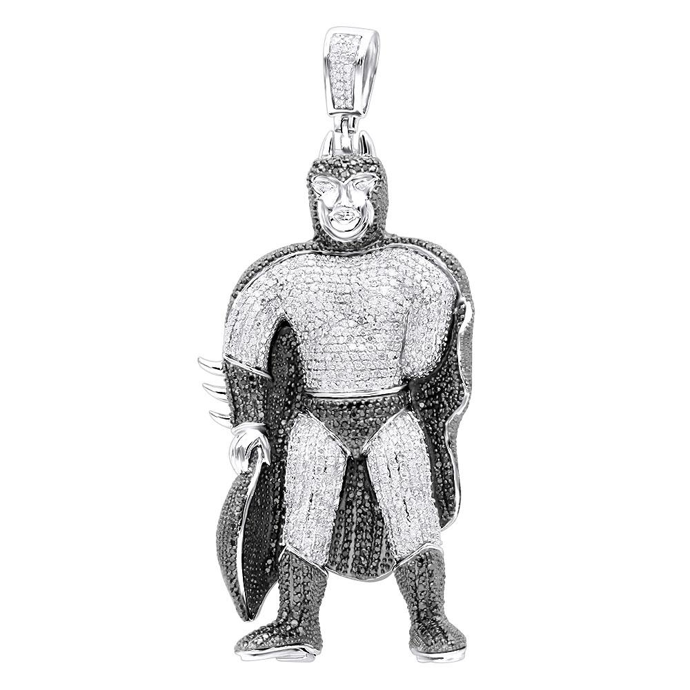 Batman Jewelry: 10K White Black Diamond Pendant 4ct