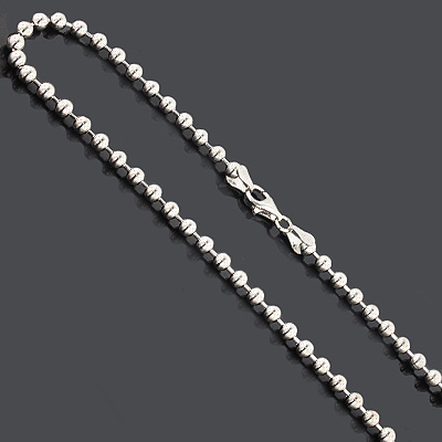 """Bead Chain Dog Tag Necklace 4mm 22"""" Sterling Silver"""