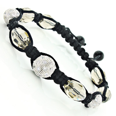 Beaded Disco Ball Bracelet with White Crystals Hip Hop Jewelry