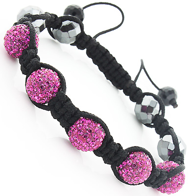 Beaded Pink Disco Ball Bracelet with Rhinestones
