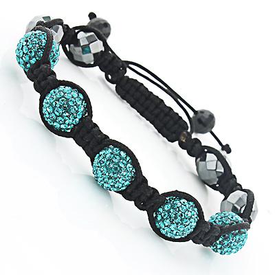 Beaded Turquoise Disco Ball Bracelet with Rhinestones