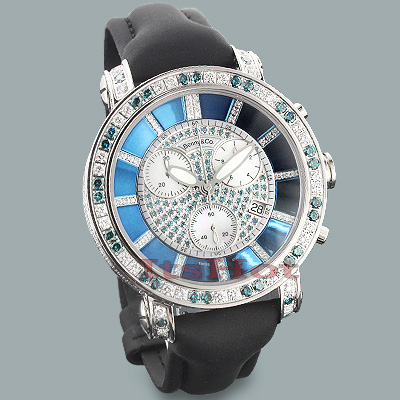 Benny and Co Mens Diamond Watch 6.50ct White Blue Diamonds