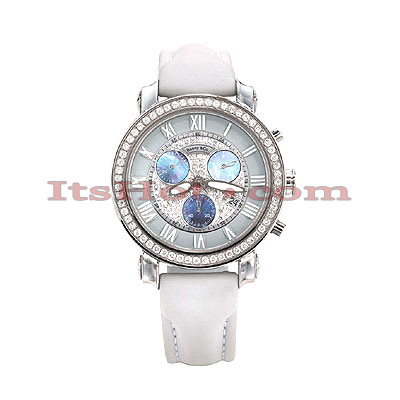 Benny Co Diamond Dial Watch 2.6ct Mens White