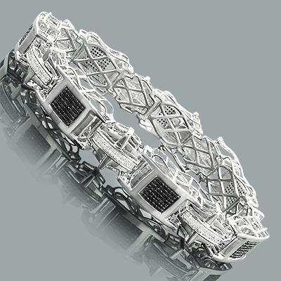 Black and White Diamond Bracelet 2.75ct Sterling Silver