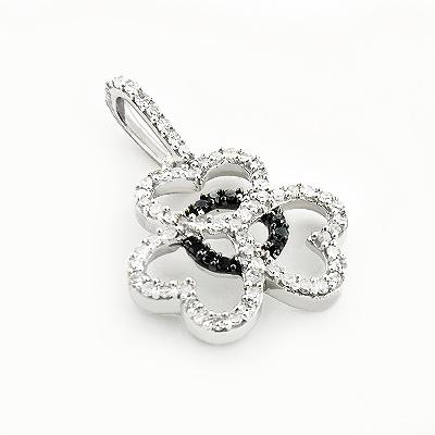 Black and White Diamond Heart Pendant 0.25ct 14K Gold