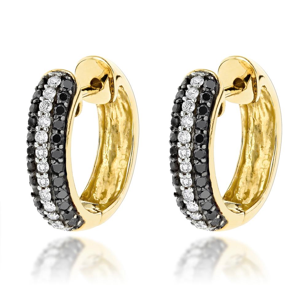 Black and White Diamond Hoop Earrings 0.64ct 10K Gold