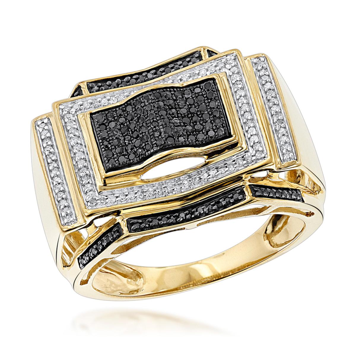 Black and White Diamond Ring for Men 0.5ct 10K Gold