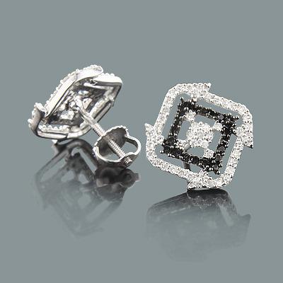 Black and White Diamond Stud Earrings 0.50ct 14K Gold