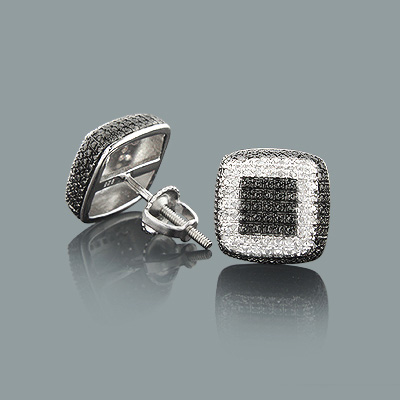 Black and White Earrings with Diamonds 0.18ct Sterling Silver