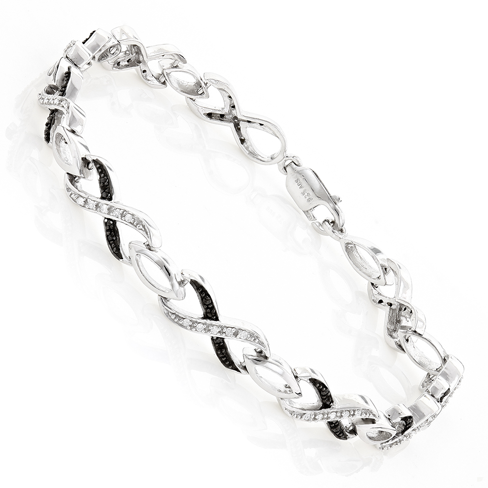 Black and White Ladies Diamond Infinity Bracelet 0.50ct Silver