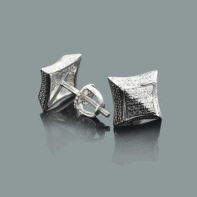 Black and White Print Diamond Stud Earrings 0.12ct Silver