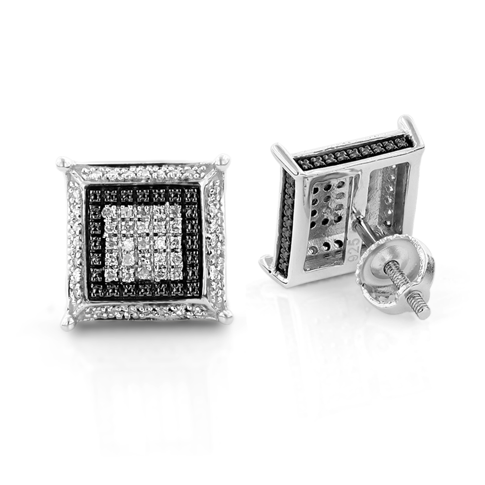 Black and White Silver Earrings with Diamonds 0.23ct