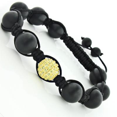 Black Bead Macrame Bracelet with Yellow Crystals Disco Ball Bracelet