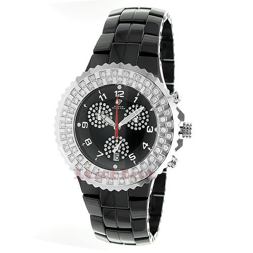 Black Ceramic Watches Aqua Master Diamond Watch 1.25ct