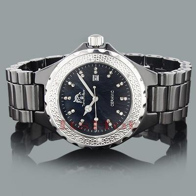 Black Ceramic Watches: Techno Master Ladies Diamond Watch 0.12ct