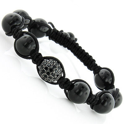 Black Crystal Disco Ball Bracelet with Polished Beads