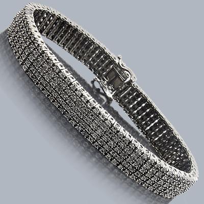Black Diamond Bracelet 2.50ct Silver 5 Rows