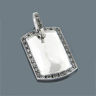 Black Diamond Dog Tag Pendant 0.66ct Sterling Silver