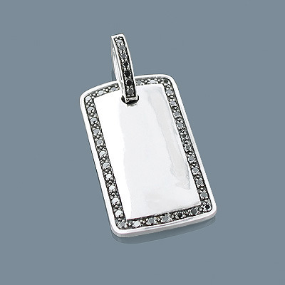 Black Diamond Dog Tag Pendant 1.01ct Sterling Silver