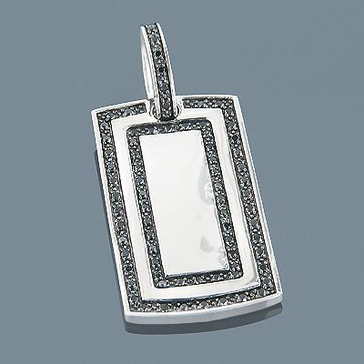 Black Diamond Dog Tag Pendant 1.12ct Sterling Silver