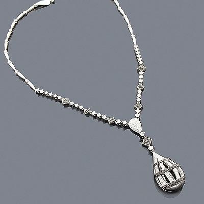 Black Diamond Drop Necklace 14K 2.77ct