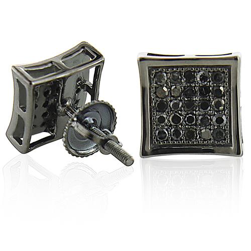 Black Diamond Earrings 0.50ct Black PVD Silver