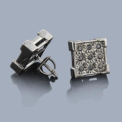 Black Diamond Earrings 0.50ct Sterling Silver