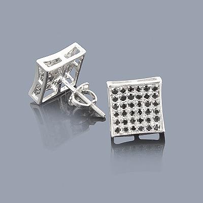 Black Diamond Earrings 0.52ct Sterling Silver Studs