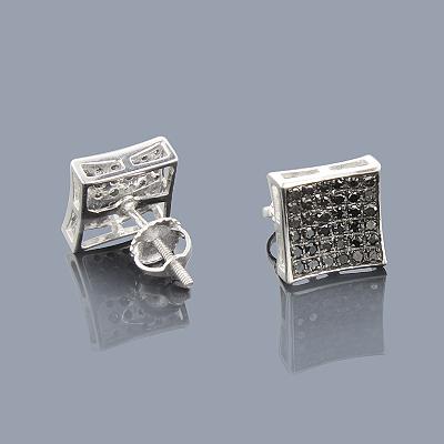 Black Diamond Earrings 0.53ct Sterling Silver
