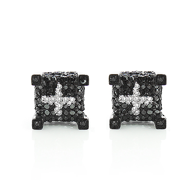 Black Diamond Earrings Studs 0.61ct Black PVD Silver