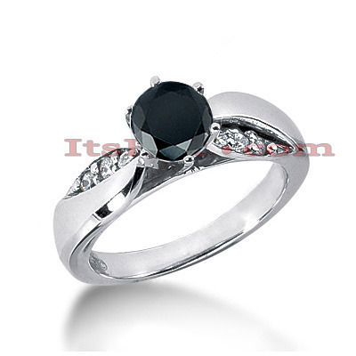 Thin Black Diamond Engagement Ring 0.74ct 14K Gold