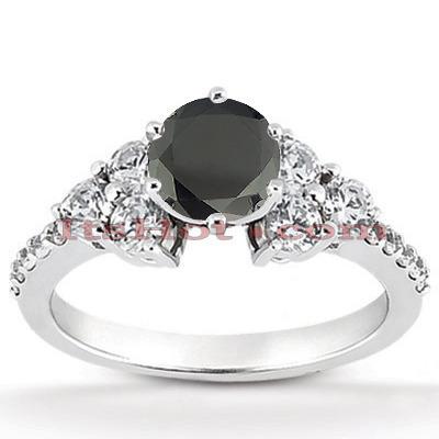 Ultra Thin Black Diamond Engagement Ring 0.85ct 14K Gold